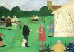 Greeting card reproduced from an original painting by Gary Bunt. 170 x 120mm with off-white paper envelope. Poem on back of card: Mrs Johnson had an incident At the vicarage fete Behold her dog Found the vicars leg And it did mate Published by Art Press.