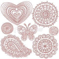 Henna (Mehndi) Paisley Doodle Design Elements Royalty Free Stock Vector Art Illustration