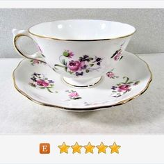 #Melba Pink #Rose #TeaCup and Saucer England Fine Bone China Purple Accents #vintage
