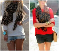 shorts with long tee and scarf