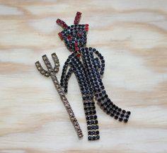Glass Rhinestones Czech Devil handmade Brooch Pin Vintage 1970s 1930s repro