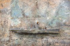 Anselm Kiefer's Salz, Merkur, Sulfur, 2011. Mixed media and lead boat on canvas