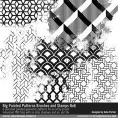 Big Painted Patterns Brushes and Stamps No. 06 grunged up pattern clusters in PNG and ABR file formats #designerdigitals