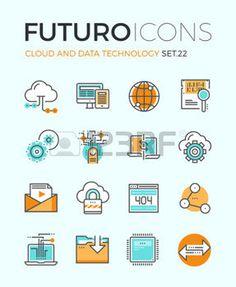 pictogramme: icônes Line avec les éléments plats de conception de la technologie de cloud computing, grande analyse des données, la connexion de réseau mondial, la communication de l'ordinateur. Moderne infographie logo vectoriel collection pictogramme concept.