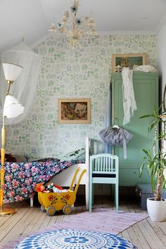 Proving that pattern clashing works perfectly in kids bedrooms, we love this sweet space, which is full of character. Scandinavian Bedroom, Swedish Bedroom, Swedish House, Scandi Style, Kids Room Design, Big Girl Rooms, Kids Bedroom, Bedroom Ideas, House Colors