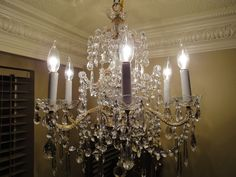 Antique French Bronze Crystal Chandelier c. 1920s