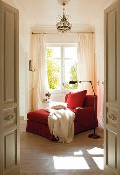 WEEKEND Reading Room Decor, Reading Chairs, Cozy Reading Rooms, Comfy Chair, Red Chairs, Cozy Corner, Cozy Nook, Master Bath, Master Bedroom