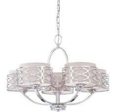 Chandeliers | Lighting Store in Calgary 60-4625 - Chrome 5 Light Chandelier with Slate Grey Fabric Shades