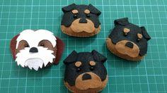 Diversas raças de cachorros feito em feltro que podem ser usados para chaveiro, ponteira de lápis, imã de geladeira ou marcador de página.