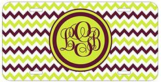 Personalized Monogrammed Chevron Green Brown Car License Plate Auto Tag Top Craft Case http://www.amazon.com/dp/B00LOWO06S/ref=cm_sw_r_pi_dp_vwptub0B9EJ98