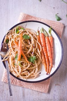 Roasted carrots with garlic spaghetti