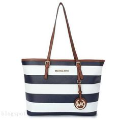 Luxury And Cheap #michael #kors #purses Jet Set Striped Travel Large Blue White Totes Online Hot Sale In Our Online Outlet!