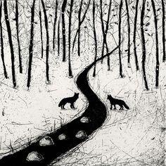 "Fiona Watson Etching "" A skulk of foxes "" Fuchs Silhouette, Graphic Design Illustration, Illustration Art, Illustrations, Dog Art, Printmaking, Contemporary Art, Black And White, Art Prints"
