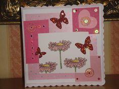 Birthday card using a variety of techniques