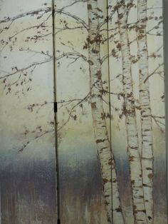 Check out this beautiful hand painted tri-fold screen with Birch Tree Design! A perfect way to separate space in your home or office. Thank you to Plantagenet Rose!  Retail Value: $295.00