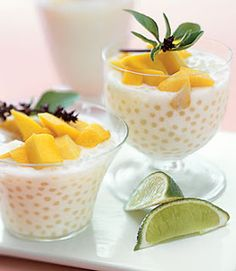 Coconut Tapioca Pudding Recipe - pearl tapioca, coconut milk, sugar, egg, vanilla, salt (any fruit topping)