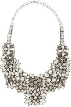 Valentino Romantic Flowers crystal and satin bib necklace | NET-A-PORTER