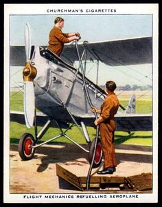 "https://flic.kr/p/NtQQVK | Cigarette Card - Refuelling Aeroplane | Churchman's cigarettes ""The R.A.F. at Work"" (series of 48 issued in 1937) #23 Flight mechanics refuelling aeroplane"