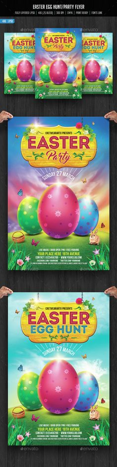 Easter Party Flyer — Photoshop PSD #easter #design • Available here → https://graphicriver.net/item/easter-party-flyer/14991683?ref=pxcr