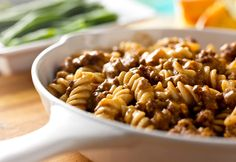 This saucy pasta and ground beef dish uses ingredients you always have on hand.