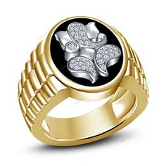 7 To 14 Two-Tone Plated Black Enamel Lord Ganesha Men's Ring Simulated Diamond…