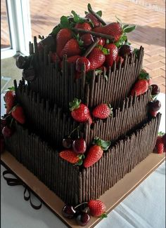 Find images and videos about food, chocolate and cake on We Heart It - the app to get lost in what you love. Gorgeous Cakes, Pretty Cakes, Cute Cakes, Yummy Cakes, Amazing Cakes, Food Cakes, Cupcake Cakes, Köstliche Desserts, Delicious Desserts