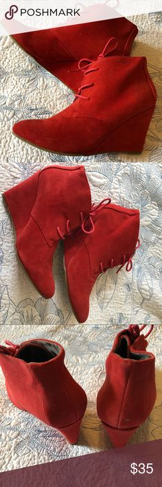 on sale 17642 44f4d Cherry Red Suede Lace Up Wedge Ankle Booties Bright Red Suede Wedge Ankle  Booties with lace