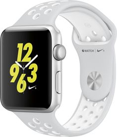 Apple - Apple Watch Nike+ 42mm Silver Aluminum Case Pure Platinum/White Nike Sport Band - Silver Aluminum