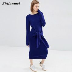 2016 Women Winter Dress Sexy Bodycon Office Knitted blue Ribbed Casual Long Maxi Midi Sweater Dress Robe Femme #Affiliate