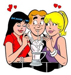 Sharing a soda. Archie, Veronica & Betty.