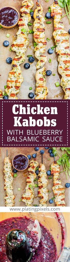 Orange Herb Grilled Chicken Kabobs with Blueberry Balsamic Sauce by Plating Pixels. Best easy gluten free chicken recipe in fresh herb marinade. Top with rich blueberry balsamic glaze. - www.platingpixels.com