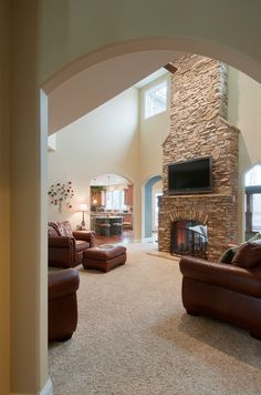 Living Room with See Through Fireplace