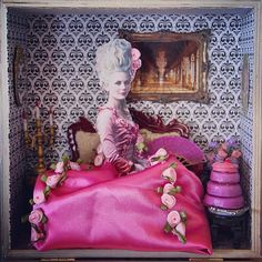 Marie Antoinette diorama that I made for my daughter's birthday (2015, mixed media), by Lisa Neily. I'm thinking of making these kinds of things and selling them online... thoughts? #diorama #shadowbox #minature #artbox
