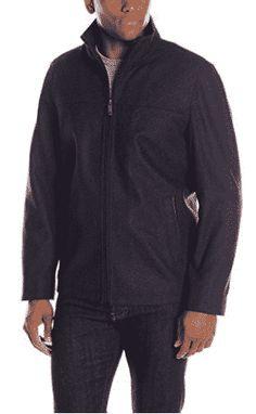Perry Ellis Men's 28-Inch Wool-Blend Zip-Front Open-Bottom Jacket