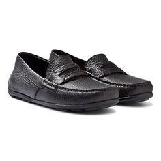 86b98f727e2 Black Leather Branded Loafers Branded Loafers