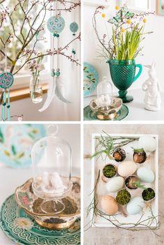 Anleitung für pastellfarbene DIY Anhänger aus Filz, Stoff und Federn mit Perlen als Deko für den Frühling und für Ostern in zartem Mintgrün…