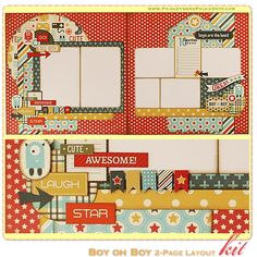 Boy oh Boy Scrapbook Layout Kit, complete with instructions, by PaisleysandPolkaDots.com for a limited time featured at www.scrapclubs.com