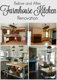 A complete farmhouse kitchen facelift.  See how to create this look on a budget!