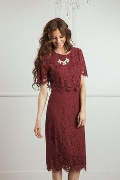 Shop the Carissa Lace Midi Dress - boutique clothing featuring fresh, feminine and affordable styles. Maroon Lace Dress, Lace Dress With Sleeves, Lace Midi Dress, Burgundy Dress, Flowy Bridesmaid Dresses, Modest Formal Dresses, Casual Dresses, Dresses For Work, Bridesmaids