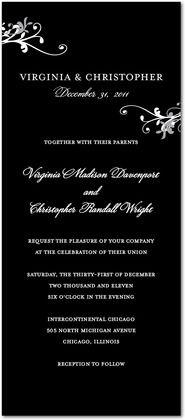 Signature White Wedding Invitations Floral Hints - Front : Black