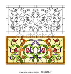 Abstract floral decor / Stained glass in Art Deco style. Vintage panel in art deco style. Plants contain flowers, buds and leaves. - stock vector