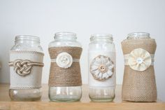 Burlap and lace jars