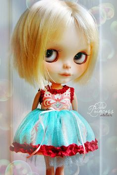 BLYTHE Dress ART DECO Ooak Victorian Outfit By Odd Princess Atelier, Vintage Style, Flowers, Hand Stitched, Special Blythe Dress