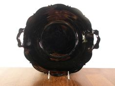 Vintage BLACK Onyx Ebony Amethyst Glass DEPRESSION Era Glass Plate with Handles L E Smith Mt Pleasant