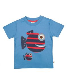 Frugi Stripy Fish Applique T-shirt