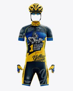 Full Men's Cycling Kit Mockup – Front View. Preview (Close-Up)
