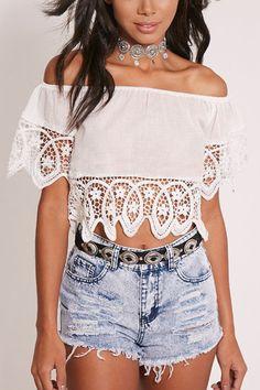 White Lace Off Shoulder Crop Top - US$11.95 -YOINS
