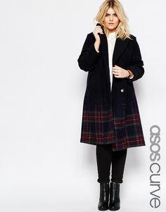 ASOS CURVE – Karierter Mantel mit Farbverlauf