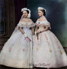 Princess Helena and Princess Louise Originally black and white photo colorized by me.