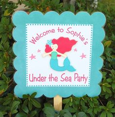 Great alternative to a door hanger sign, stake it in the ground outside front door or if you are doing the party in backyard stake there.